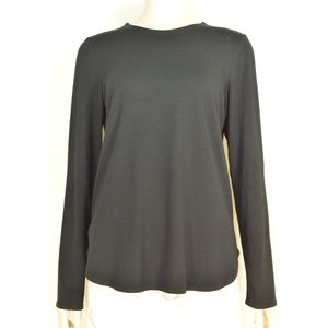 Eileen Fisher top SZ M black shirttail hem long sl